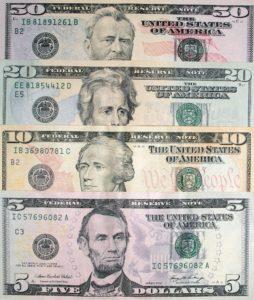 アメリカのドル紙幣