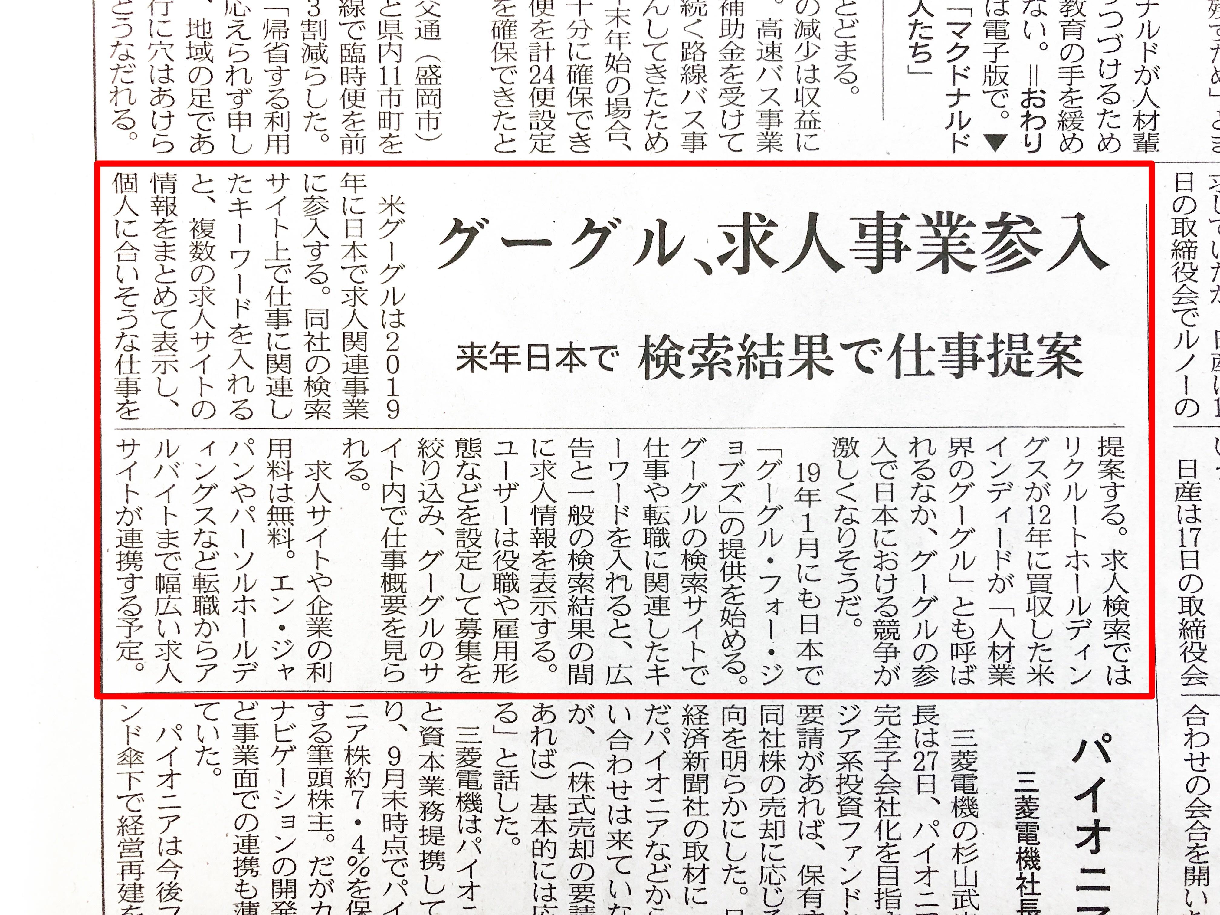 平成30年12月28日 企業2 日本経済新聞