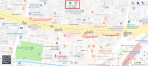 英語表記の久留米市市街地地図
