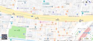 日本語表記の久留米市街地地図